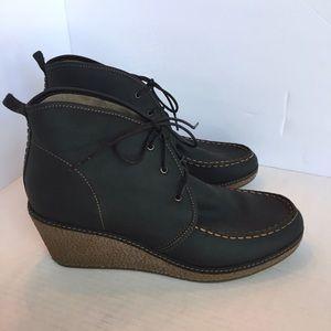 Olukai Black Leather Wali Wedge Bootie